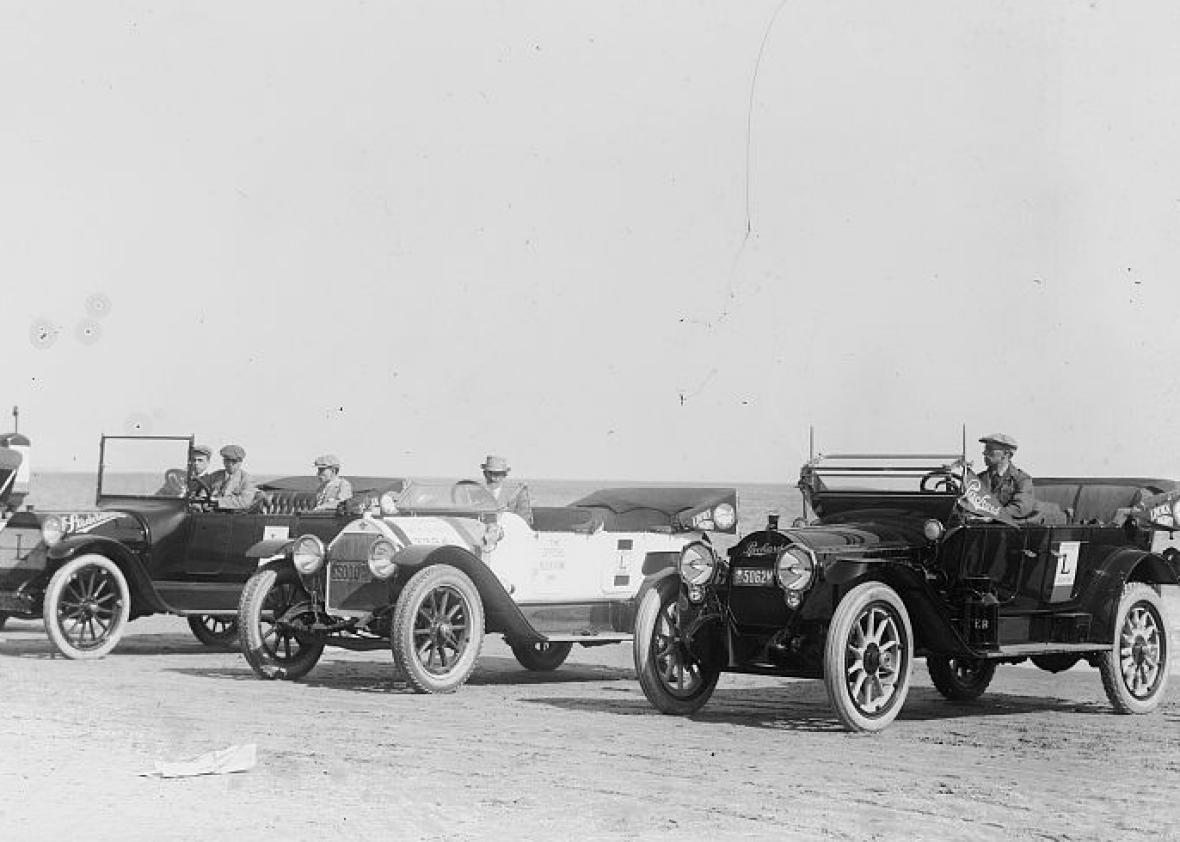 Start of auto trip to San Francrisco from Coney Island on May 15, 1915.