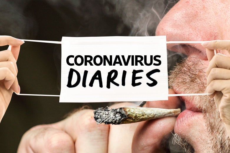 "A close-up of the bottom half of a man's face smoking a joint. The ""Coronavirus Diaries"" logo on a mask is overlayed."