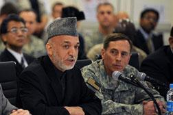 Afghan President Hamid Karzai and US Central Command chief General David Petraeus. Click image to expand.