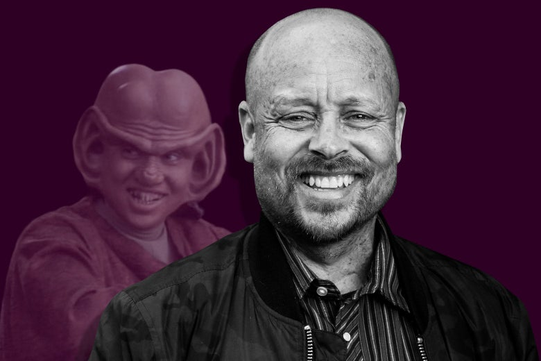 An illustration of Aron Eisenberg in front of his character Nog, who has enormous ears.