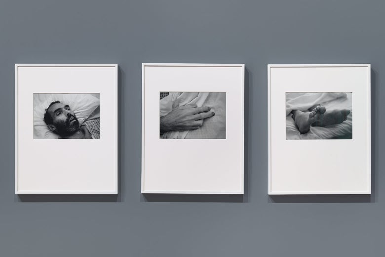 A triptych consisting of photographs of the artist Peter Hujar just after his death.