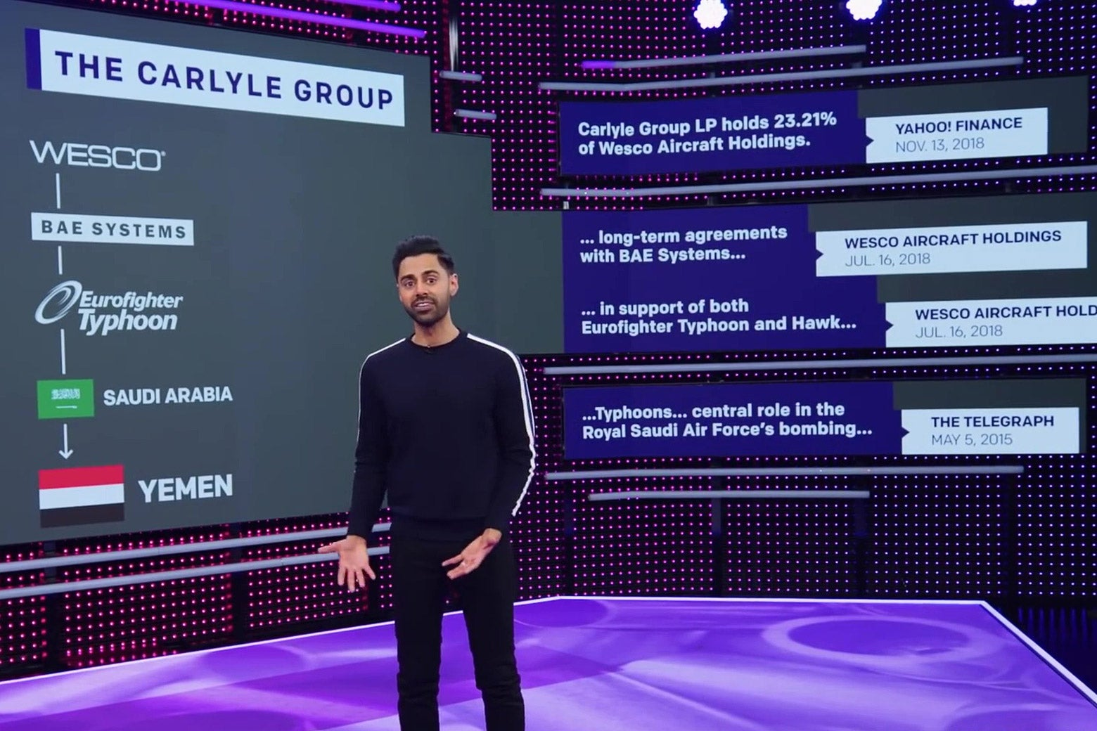 Hasan Minhaj, standing in front of a chart showing financial connections between the Carlyle Group and the RSAF.