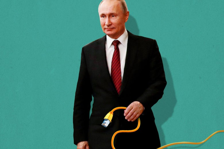 Vladimir Putin holds an Ethernet cable.