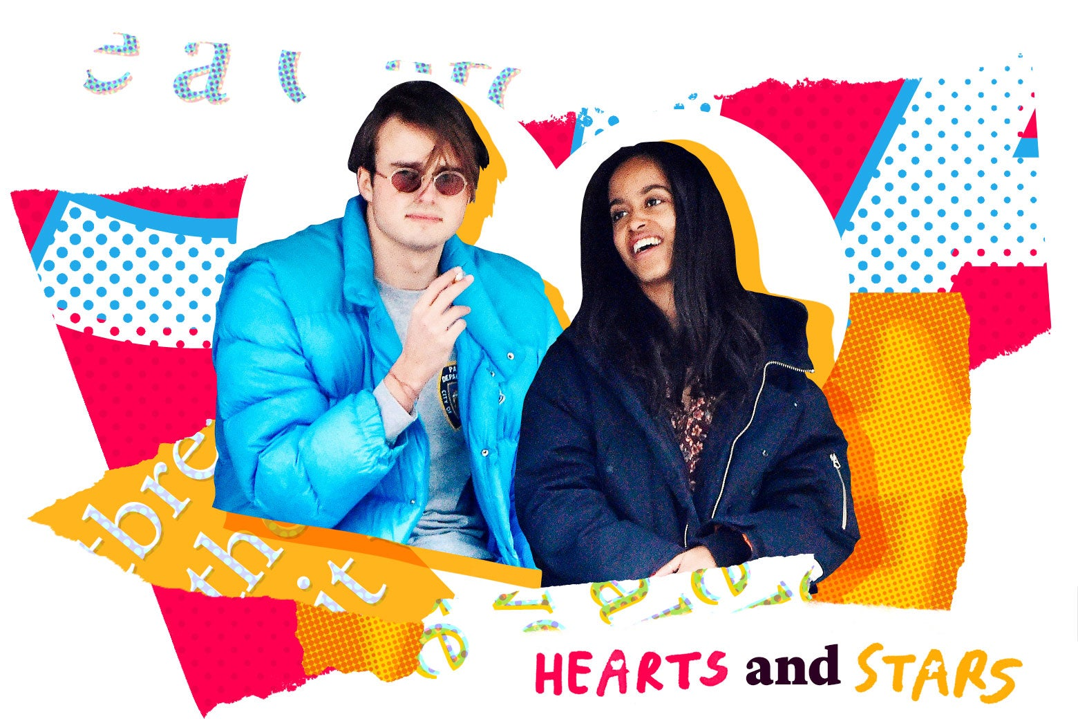 Colorful magazine clipping collage with Rory Farquharson and Malia Obama.