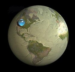 Earth's water collected into a single drop