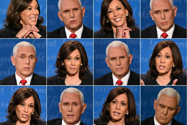 A combination of pictures of Kamala Harris and Mike Pence during the vice presidential debate