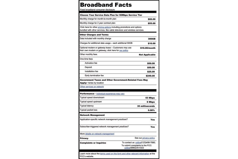 A proposed facts label to be put on broadband modems.