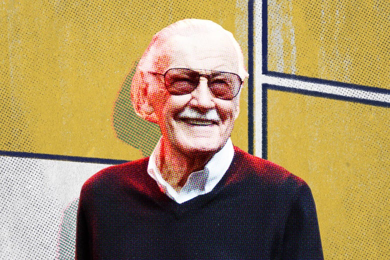 Stan Lee in his trademark glasses smiling, with comic-book panels illustrated behind him