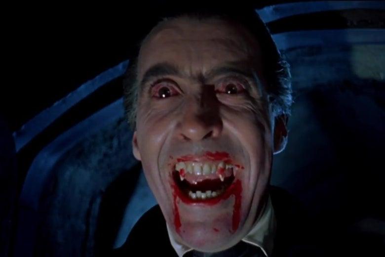 Christopher Lee as Dracula.