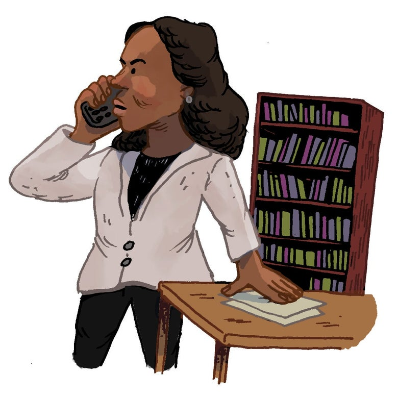 Illustration of Olivia Pope on the phone.