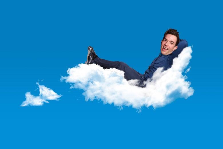 A photo illustration of John Mulaney resting on a cloud.