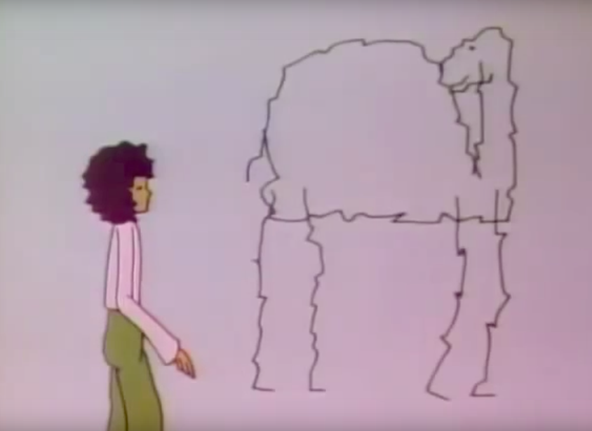 A cartoon woman stands beside a cracked-outline camel.