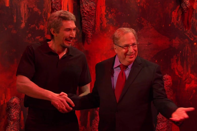 Adam Driver, dressed as Jeffrey Epstein, and Jon Lovitz, dressed as Alan Dershowitz, excitedly greeting each other in hell.