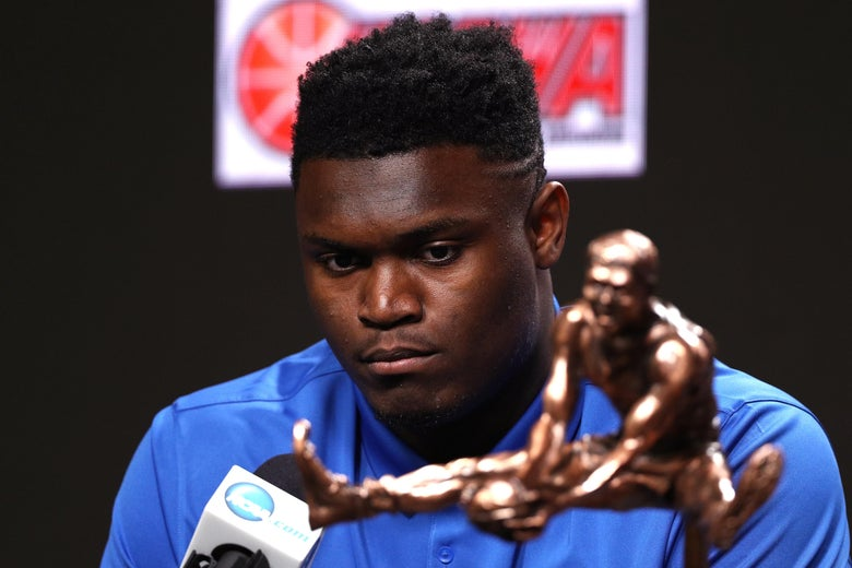 MINNEAPOLIS, MINNESOTA - APRIL 05: Zion Williamson of the Duke Blue Devils speaks during a press conference after being awarded the USBWA Oscar Robertson Trophy Player of the Year prior to the 2019 NCAA men's Final Four at U.S. Bank Stadium on April 5, 2019 in Minneapolis, Minnesota. (Photo by Mike Lawrie/Getty Images)
