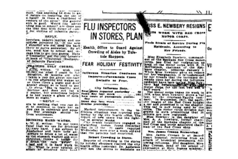 "A headline reads, ""FLU INSPECTORS IN STORE, PLAN"" on an old newspaper clipping."