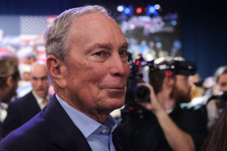 Democratic presidential hopeful former New York mayor Mike Bloomberg leaves after speaking at a rally at Palm Beach County Convention Center in West Palm Beach, Florida, on Super Tuesday, March 3, 2020. (Photo by Eva Marie UZCATEGUI / AFP) (Photo by EVA MARIE UZCATEGUI/AFP via Getty Images)