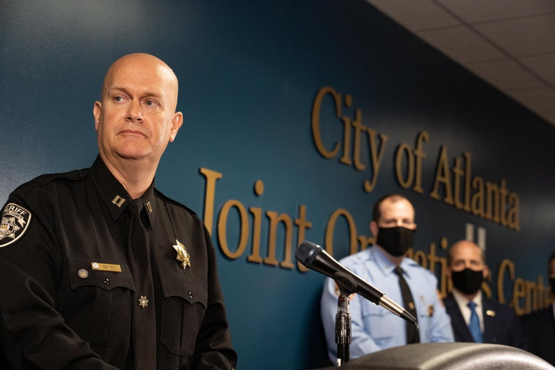 Captain Jay Baker, of the Cherokee County Sheriff's Office, speaks at a press conference on March 17, 2021 in Atlanta, Georgia.