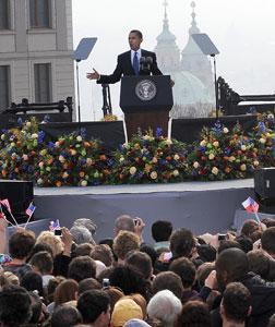 Barack Obama in Prague. Click image to expand.