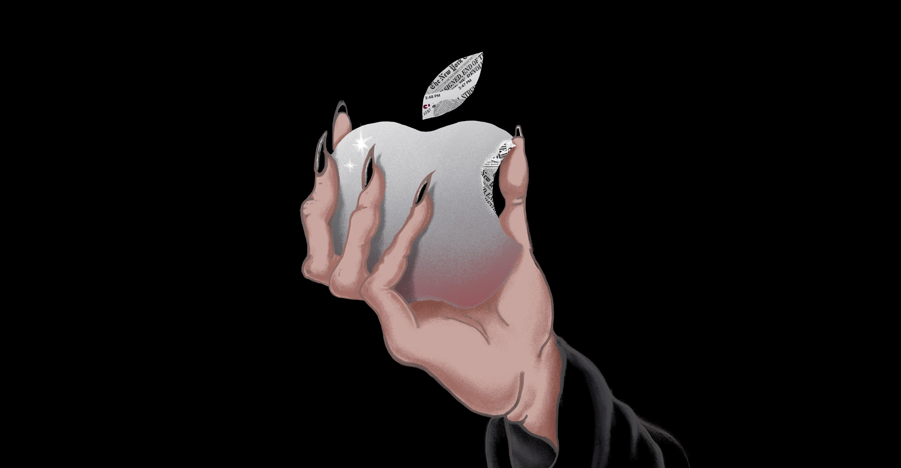 A hand with painted pointy black nails holds an apple with a bite taken out of it. The leaves and the bite mark are newsprint patterned.