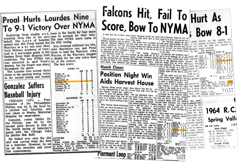 Newspaper box score clippings from when Trump played baseball at NYMA.