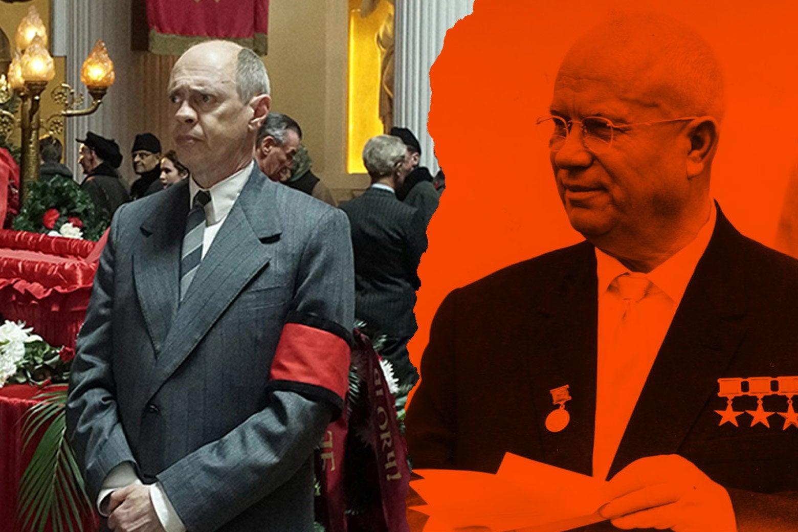 At left: Steve Buscemi as Nikita Khrushchev in the film. At right: the real Nikita Khrushchev.