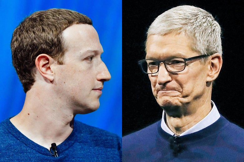 Mark Zuckerberg and Tim Cook.