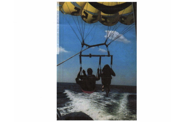 A scanned photo sent to Robert Pezzeca of a family member paragliding.