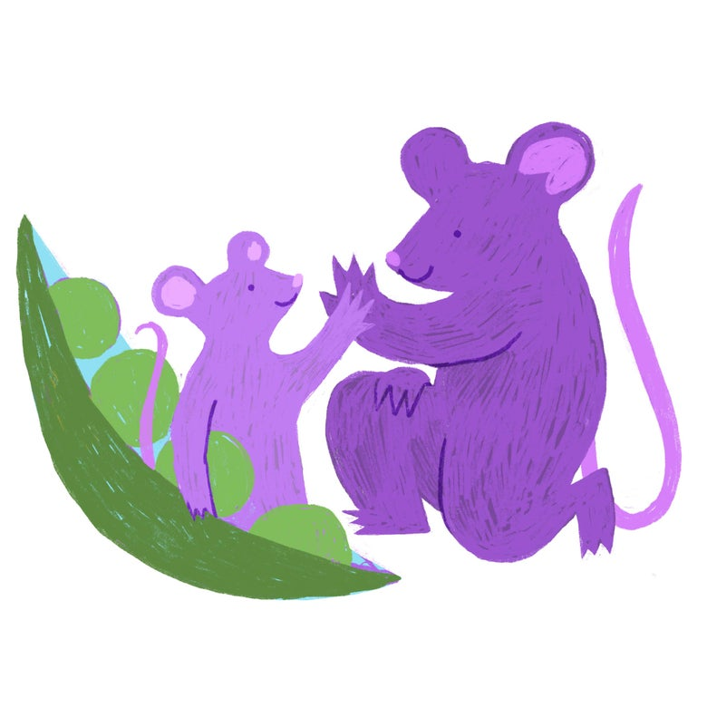 A purple rat high-fives a smaller purple rat in a pea pod.