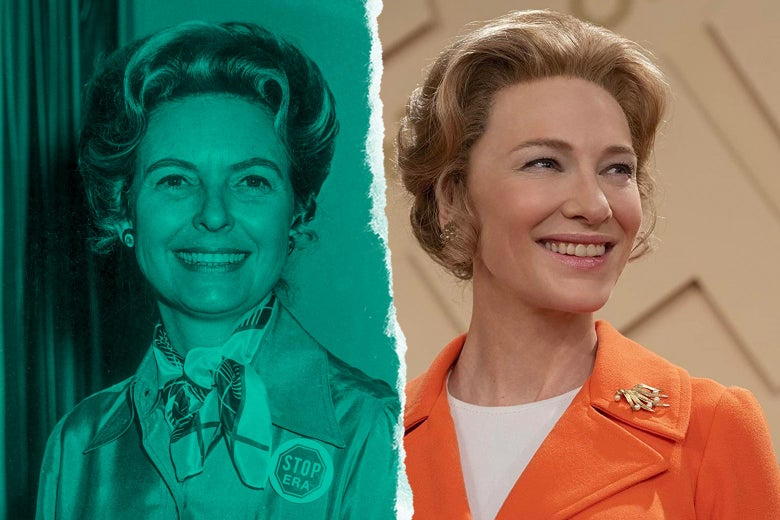 A side-by-side of the two women, both with their blonde hair up in curls and their faces smiling