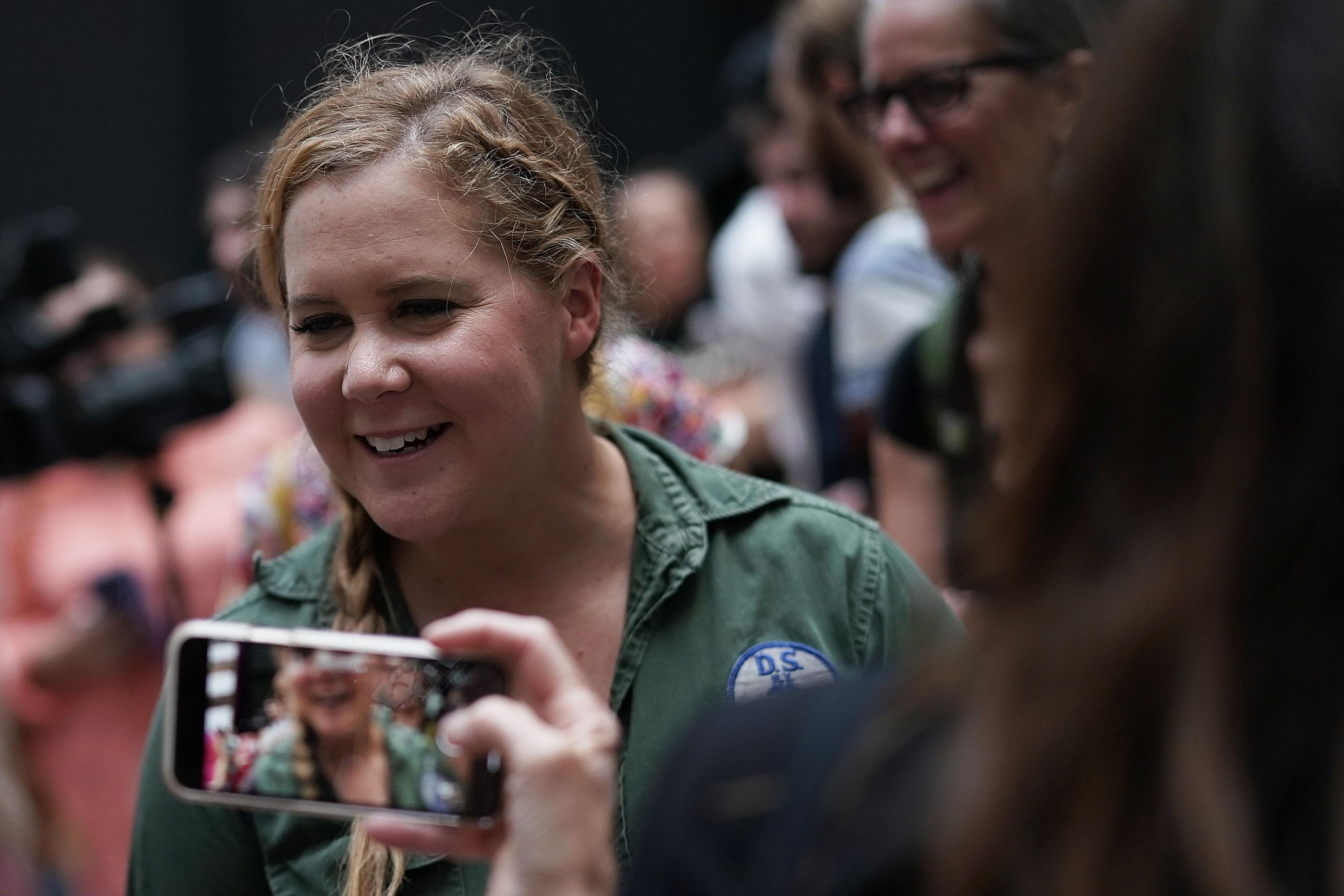Comedian Amy Schumer in a protest against the confirmation of Supreme Court nominee Judge Brett Kavanaugh.