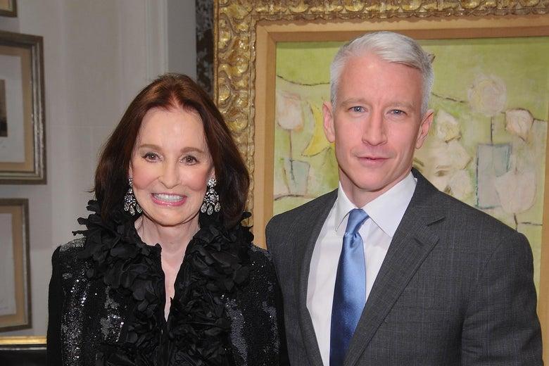 Gloria Vanderbilt standing next to Anderson Cooper.