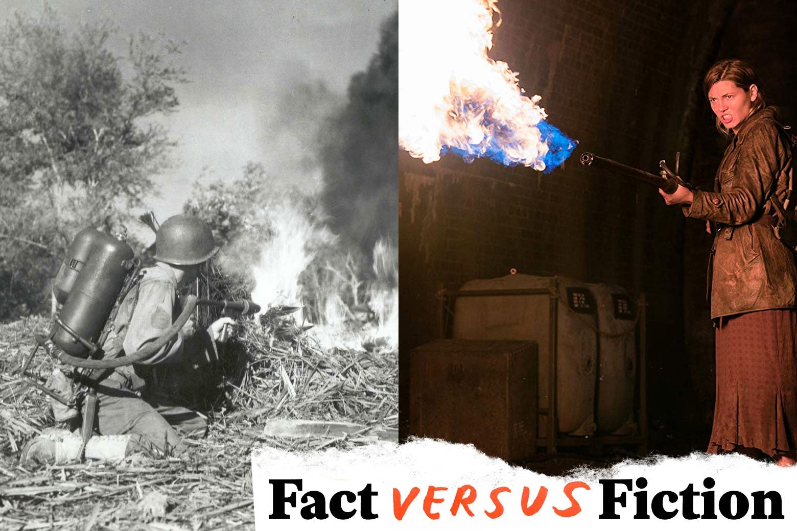 A file shot of a soldier with a flamethrower, paired with a still of actress Mathilde Ollivier wielding a flamethrower in Overlord.