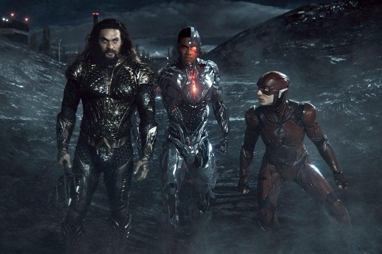 Aquaman, Cyborg, Flash in a dark, desolate hellscape.