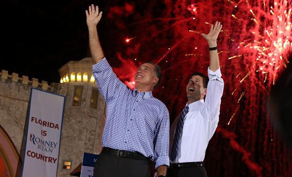 Mitt Romney and Paul Ryan greet supporters during a Victory Rally in Daytona Beach, Florida.