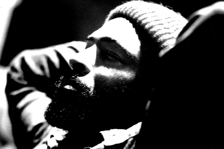 Marvin Gaye relaxes in the studio on Aug. 28, 1973.