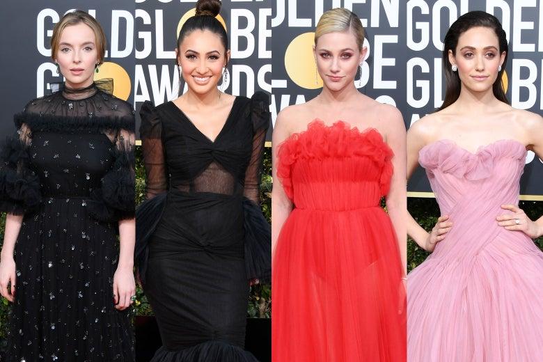 Jodie Comer, Francia Raisa, Lili Reinhart, and Emmy Rossum at the 2019 Golden Globes.