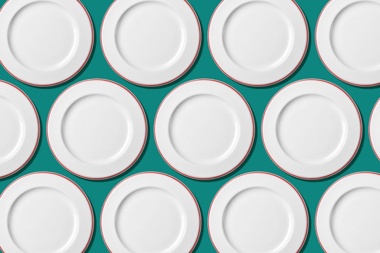 Rows of empty plates.