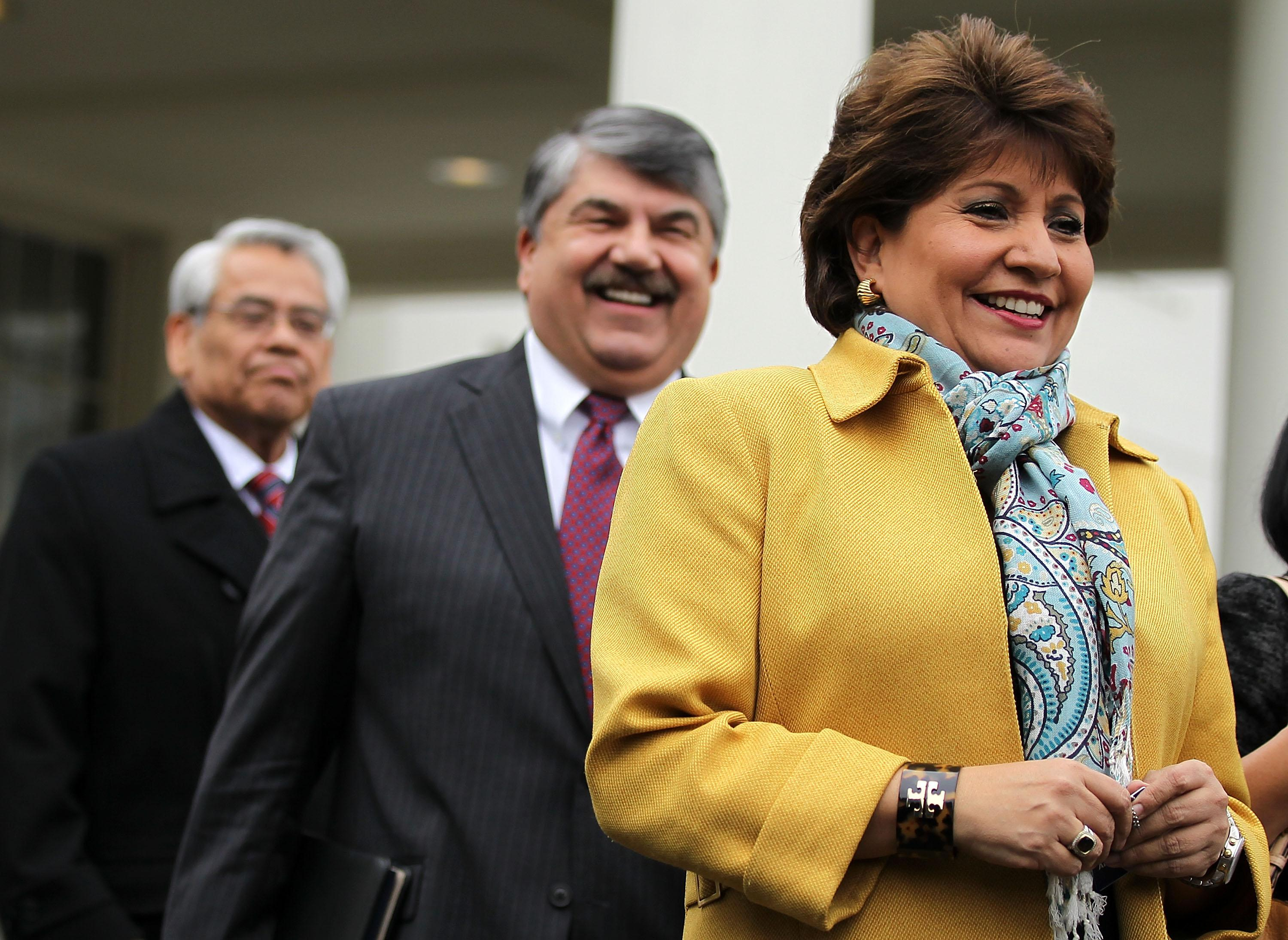 From left: Secretary-Treasurer of SEIU Eliseo Medina, AFL-CIO President Richard Trumka, and President and CEO of National Council of la Raza Janet Murguia come out from the West Wing of the White House after a meeting with President Barack Obama, Feb. 5, 2013, in Washington, D.C.