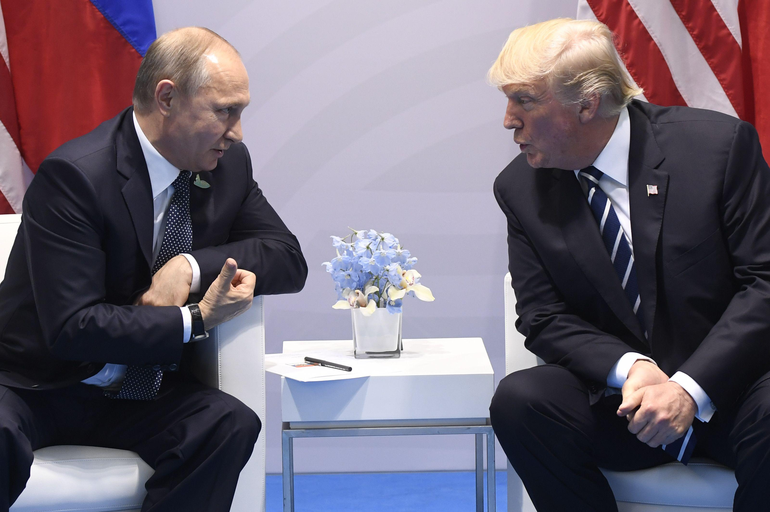 Donald Trump and Vladimir Putin at the G20 Summit in Hamburg, Germany, on July 7, 2017.