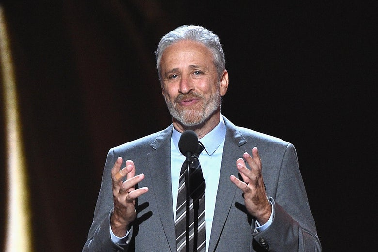 LOS ANGELES, CA - JULY 18:  Jon Stewart speaks onstage at The 2018 ESPYS at Microsoft Theater on July 18, 2018 in Los Angeles, California.  (Photo by Kevork Djansezian/Getty Images)