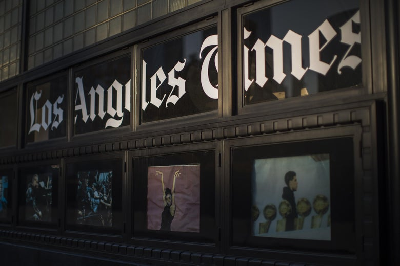 LOS ANGELES, CA - FEBRUARY 06: The Los Angeles Times building is seen on February 6, 2018 in Los Angeles, California. Parent company, Tronc, is believed to be close to selling The Times and The San Diego Union-Tribune to billionaire Los Angeles doctor, Patrick Soon-Shiong, for about $500 million.  (Photo by David McNew/Getty Images)