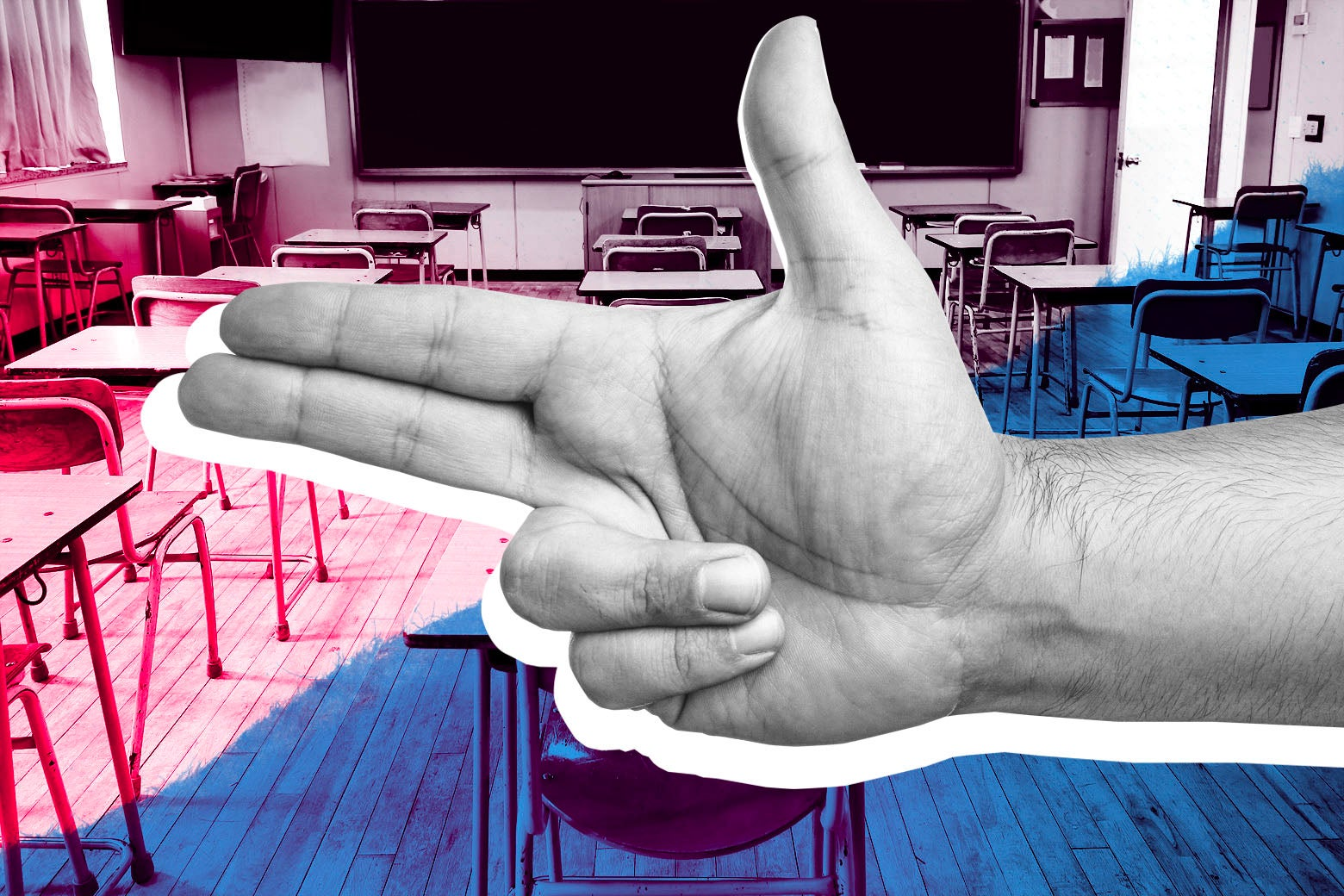 Photo illustration: A hand gesturing like a gun is superimposed on a stock image of a classroom.