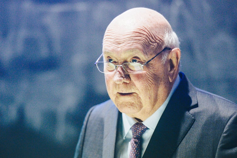 Former South African President F.W. de Klerk addresses the Trinity College Law Society after being presented with the Praeses Elit Award on Jan. 18, 2017, in Dublin.