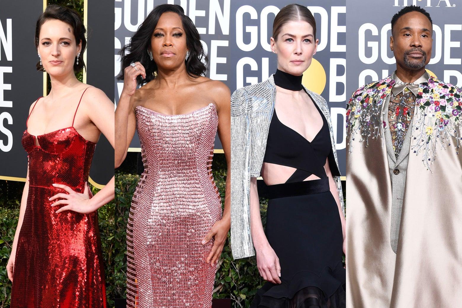 Phoebe Waller-Bridge, Regina King, Rosamund Pike, and Billy Porter at the 2019 Golden Globes.