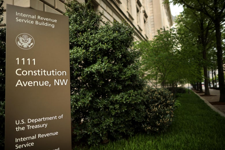 A sign identifies the IRS building.