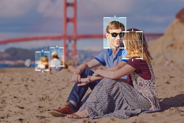 Photo illustration of two people sitting on a beach near the Golden Gate Bridge, but with facial recognition–esque highlights around their faces to note active surveillance.