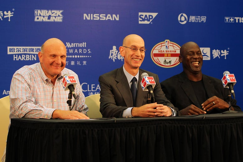 Steve Ballmer, Adam Silver, and Michael Jordan