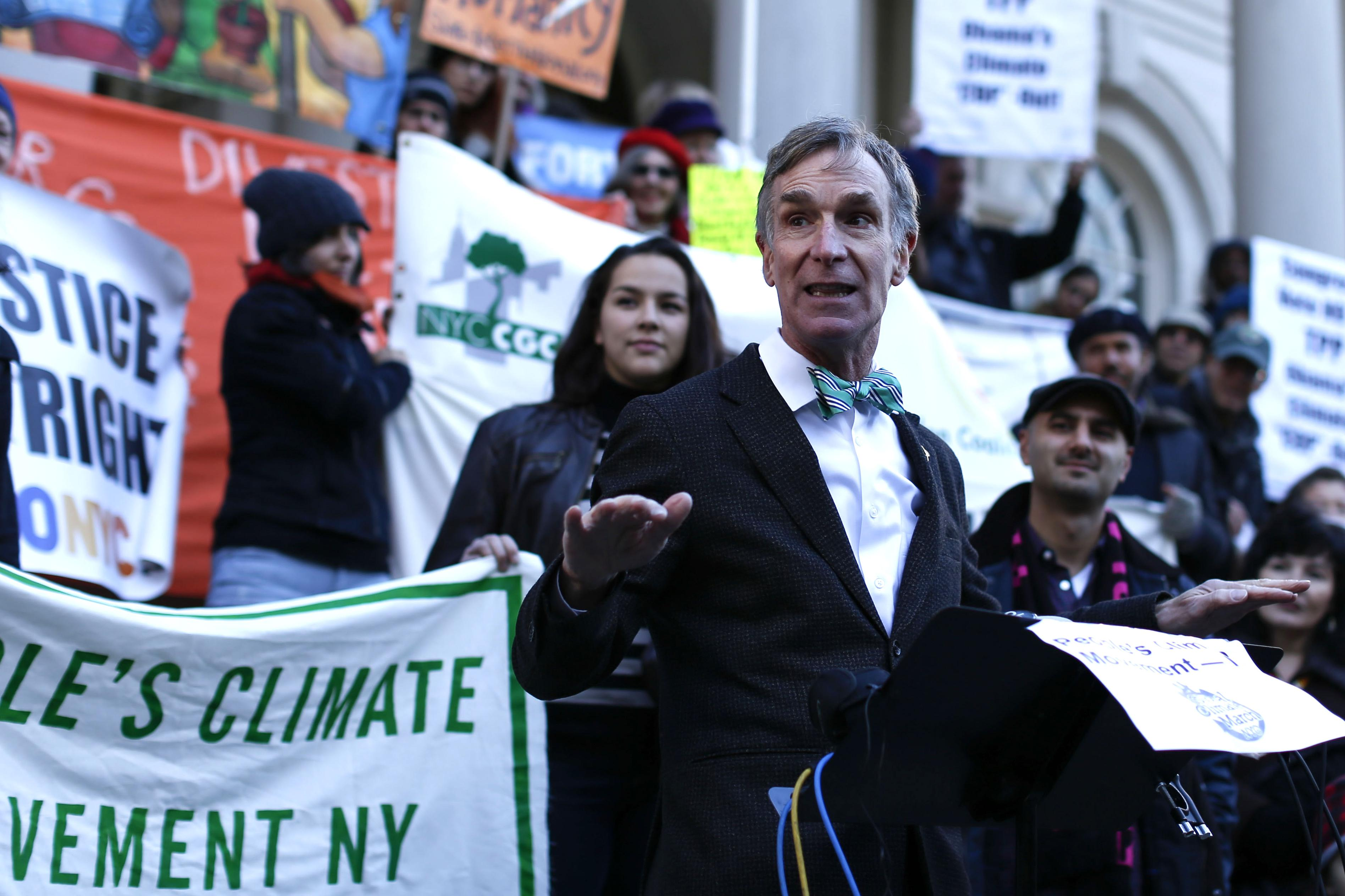 Bill Nye speaks during a press conference before a global climate march outside the City Hall on November 29, 2015 in New York City.