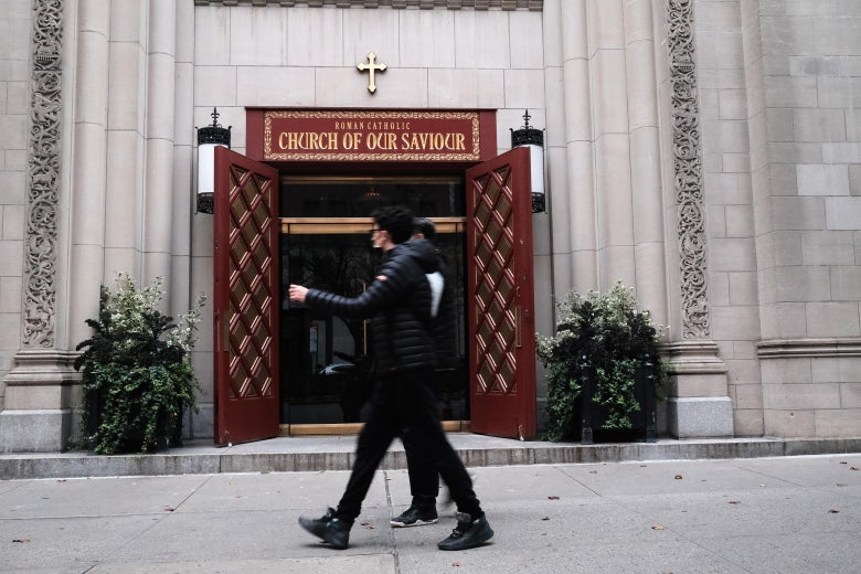"""The doorway to """"The Church of Our Savior"""" in New York."""