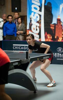 Ariel Hsing at the Chicago International Table Tennis Festival.